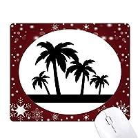 椰子の木のシルエットの黒い植物 オフィス用雪ゴムマウスパッド