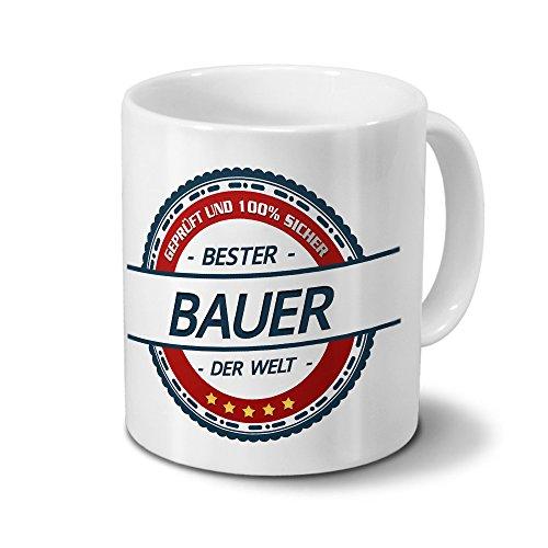 printplanet Tasse mit Beruf Bauer - Motiv Berufe - Kaffeebecher, Mug, Becher, Kaffeetasse - Farbe Weiß