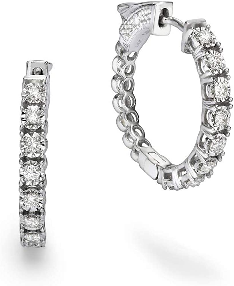 Same day shipping Diamond Sale Hoop Earrings - Solid White Natural Gold 14k Certified