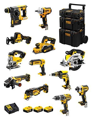 DeWALT Kit DWK1200 (DCD796 + DCH273 + DCG405 + DCF887 + DCF894 + DCS331 + DCS391 + DCS355 + DCP580 + DCS369 + DCL050 + DCF620 + 3 Baterías de 5,0 Ah + Cargador + Carro 3en1)