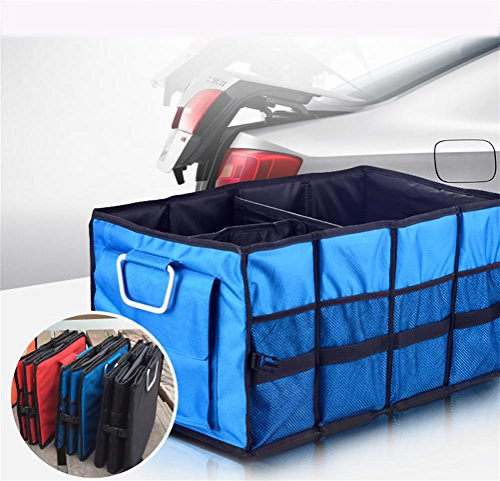 TOCHENG Foldable Cargo Trunk Organizer Big Capacity Washable Storage with Handles, Blue, A