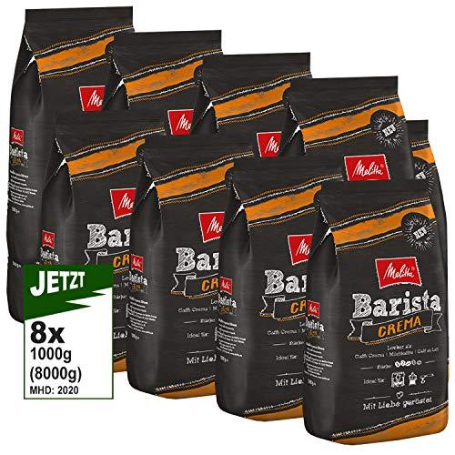 Melitta Barista Crema, Ganze Kaffeebohnen 8x 1000g (8000g) - ausgewogener, harmonischer Kaffee