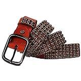 XJKLFJSIU-Belt Cinturón Remachado Personalizado Para Hombres/Cinturón Retro Para Pareja/Cinturón Casual De Jeans, Amarillo, 3.8 * 125 Cm