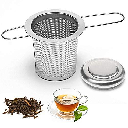 Gresunny 3pcs infusor de té filtro para té de acero inoxidable colador de té con tapa y mango largo de plegable filtro de té para té suelto filtros para te para tazas teteras tazones de té café ollas