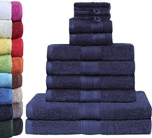 GREEN MARK Textilien 10 TLG. FROTTIER Handtuch-Set mit verschiedenen Größen 4X Handtücher, 2X Duschtücher, 2X Gästetücher, 2X Waschhandschuhe | Farbe: Navy blau | Premium Qualität