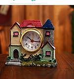 Ayzr Castle Alarm Clock Children Gift Villa Creative Student Fun Bedside Clock Home Desktop Clock,Yellow