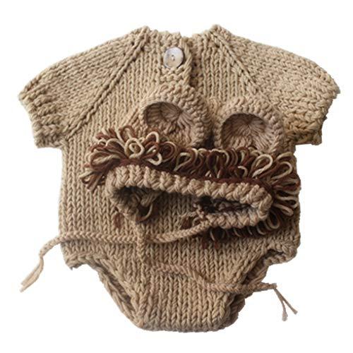 León de la Historieta Respirable Estilo de Tejer Sombrero de Lana Ropa de época bebé Animal de la Foto Traje recién Nacidos Fotografía Conjuntos de Ropa
