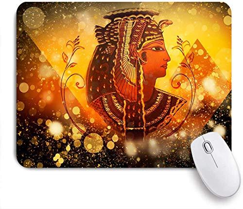 Gaming Mouse Pad rutschfeste Gummibasis, altägyptische Ägypten Königin Frauen unter Pyramide Ägypten Piktogramm auf Golden Bling Glitter, für Computer Laptop Schreibtisch
