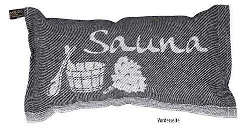JOKIPIIN | 1 Saunakissen und Reisekissen SAUNA, 40 x 22 cm, Leinen/Baumwolle, made in Finland (schwarz/weiß)
