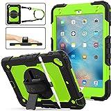 iPad Mini 5 Case,iPad Mini 4 Case, SEYMAC Stock [Full-Body] Drop Proof &Shockproof Armor Case with 360 Rotating Stand [Pencil Holder] Screen Protector Hand Strap for iPad Mini 4/5 (Green+Black)