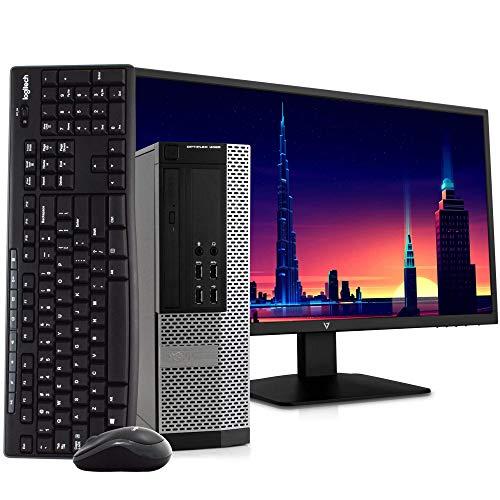 Dell OptiPlex 9020 Small Form Space Saving PC Desktop Computer, Intel i5, 8GB, 500GB HDD, Windows 10 Pro, New 23.6' FHD V7 LED Monitor, Wireless Keyboard & Mouse, New 16GB Flash Drive, WiFi (Renewed)