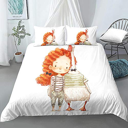 Cute Cartoon Girl Printed 3Pcs Duvet Cover and Pillow Case Kids Girls Bedding Sets 200x200cm + 50x75cm * 2