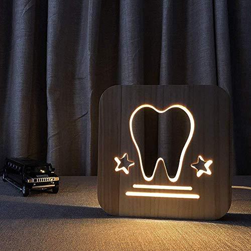 L-YINGZON Diente de la historieta creativa linda de madera luz de la noche hueco 3D LED lámpara de mesa decorativo USB dormitorio del sitio de niños de cumpleaños de 19 * 19 cm de escritorio simple ro