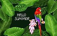 こんにちは夏のオウム-3D 壁画 ポスター壁紙カスタムメイドデザインの壁画リビングルームホーム壁紙装飾-280X200cm (110X78inch)