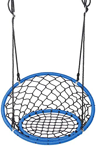 WMYATING Showing Switch de Silla de Hamaca con Cuerdas Colgantes Ajustables Hamaca de árbol Hamaca para niños Equipo de Juego Azul Apto para Interiores o al Aire Libre Ligera Portátil