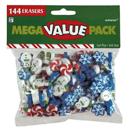 amscan Christmas Themed Eraser Mega Value Pack, 144 Ct. | Party Favor