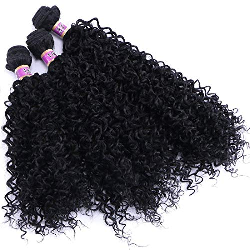 Kinky Curly Synthetic Hair Weave 3 Bundles 16 18 20 Inches Black Synthetic Hair Weft Extensions High Temperature Heat Resistant Fiber