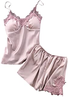 Hunauoo Womens Underwear Set Sexy Satin Sling Sleepwear Lingerie Lace Nightdress