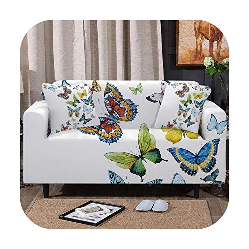 Cubierta de sofá Emp-wang Mariposa Estirar Funda Para Sofás Colorido para la Sala de Primavera Sofá Cubierta de la Silla Blanca Protector, 1, Chair (80-120cm)
