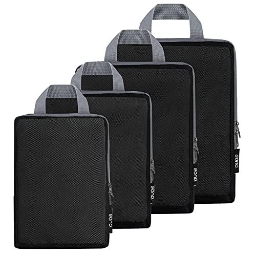 Eono by Amazon - Organizadores de Viaje de compresión expandibles, Impermeable Organizador para Maletas, Organizador de Equipaje, Cubos de Embalaje, Compression Packing Cubes, Malla, 4 Set