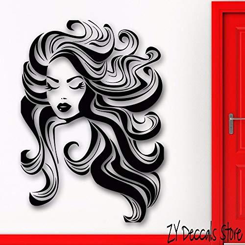 guijiumai Hot Girl Wandtattoos Haar Frisur Beauty Salon Spa Wandaufkleber Für Schlafzimmer Baber Schaufenster Dekoration Kunstwand 56X79 cm