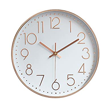 Jomparis Modern 12  Battery Operated Silent & Non-ticking Wall Clock Digital Quiet Sweep Home Decor Clocks,Plastic Frame Glass Cover (Rose Gold,Arabic Numeral)