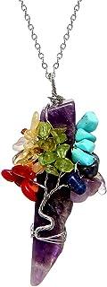 HZMAN Natural Irregular Quartz Pendant Chakra Orb Tree Of Life Handmade Metal Wire Wrapped Fashion Jewelry
