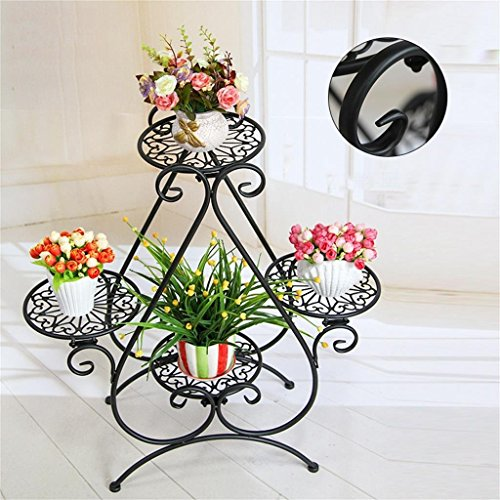 GRY Style Européen Fleur Cadre Fer Multi Étage étage Style Intérieur Salon Fleur Racks Vert Radis Lily Balcon Fleur Racks,Noir