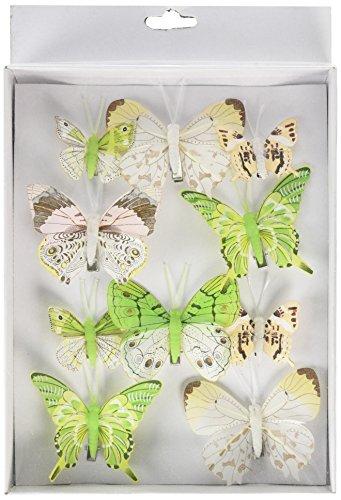 HEITMANN DECO Schmetterlinge mit Clip - Deko 3D, Frühling, Ostern - Verschiedene Größen - 10-teiliges Deko-Set, Grün/Weiß/Braun