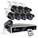 Loocam 1080p Surveillance Security Camera System, 8CH DVR w/2TB HDD 8X 1920TVL IP67 Weatherproof Indoor Outdoor CCTV Bullet Camera, 150ft Night Vision, Motion Alert, Easy Setup, 24/7 Recording