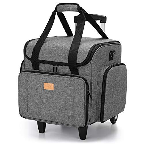 Luxja Bolsa para Máquinas de Coser con Trolley desmontable, Maletas de Transporte para Máquinas de Coser y Accesorios (Solo Bolsa), Gris