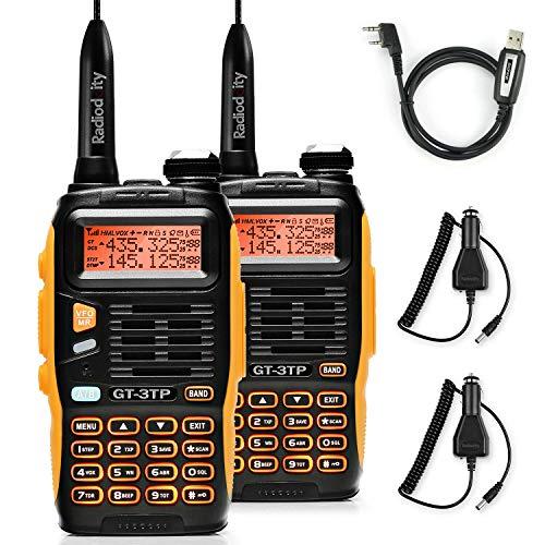 BAOFENG GT-3TP Mark III Dualband Handfunkgerät UHF/VHF 2m/70cm Funkgerät Tri-Power 8W/4W/1W Walkie Talkie (2 Stücke+1 Programmierkabel)