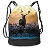 OKIJH Mochila Mochila de Ocio Mochila con cordón Mochila Multifuncional Bolsa de Gimnasio Gymsack Drawstring Bag Sackpack Wild Deer Sport Cinch Pack Simple Bundle Pocke Backpack For Men Women