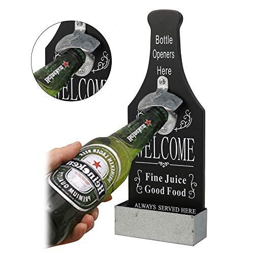 78Henstridge Ouvre-Bouteille Mural/Debout avec Attrape-Bouchon Magnétique Puissant, Ouvre-Bouteille de Bière en Bois Vintage, Idéal pour Amateurs de Bière,Bar,Fête,Cuisine,Amateurs de Bière (Noir)