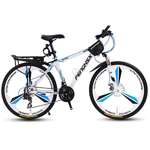 @Y.T 24/26 Zoll Mountainbike Fahrrad, verdickter Carbon Stahlrahmen Verstellbarer Sitz Doppelstoßdämpfung und Doppelscheibenbremsen