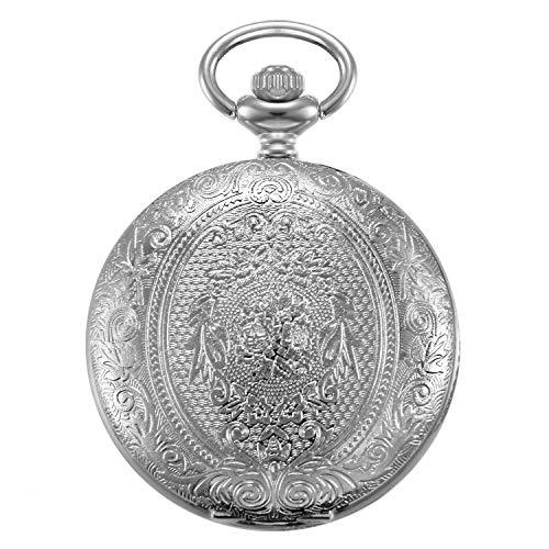 Reloj de Bolsillo para Hombres Mujeres, con Flores grabadas Retro vintaje número árabes analógico Cuarzo Moderno, Reloj de Bolsillo Plateado Collar con Cadena