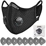 FamBrow Dust Mask with Filters, Washable Sports Face Mask with Breathing Valve & 8 Filters for Adults Running, Cycling, Allergy, Woodworking, Mowing, Outdoor Activities (Black)