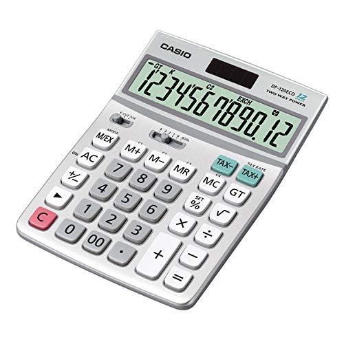 CASIO Tischrechner DF-120ECO, 12-stellig, umweltfreundlich, Steuerberechnung, Solar-/Batteriebetrieb