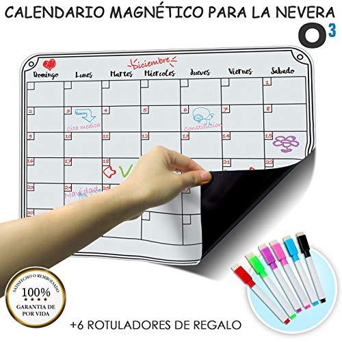 O³ Calendario Magnetico Nevera + Regalo - Pizarra Magnética Nevera Mensual – Organizador Frigorifico – Tareas – Exámenes - Eventos | Planificador Mensual para Toda La Familia En Español