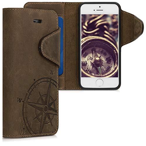 kalibri Funda para Apple iPhone SE / 5 / 5S - Carcasa de Cuero con Tapa de Billetera - Cover Protector en marrón