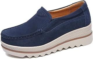 Freeship Deals Women Comfy Slip-On Platform Shoes Women Platform Slip On Loafers Comfort Wedge Shoes (5, Navy Blue)