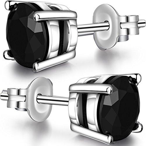 jiamiaoi Silver Diamond Stud Earrings for Women Men 925 Sterling Silver Round Black CZ Cubic Zirconia Studs Earrings Nickle-Free Hypoallergenic Studs Earrings for Women/Men 5MM