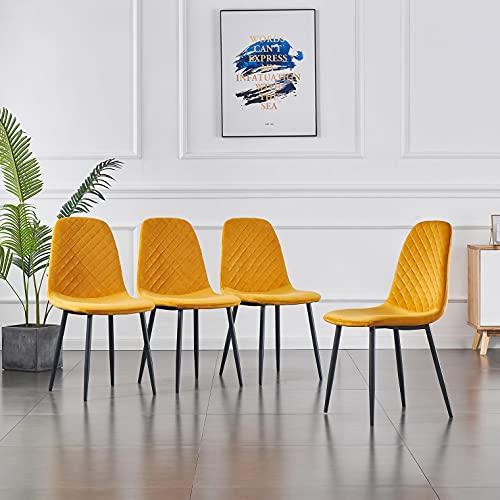 JaHECOME 4er Set Esszimmerstühle Scandinavian Vintage Samt Künstlich Wildledersitz Wohnzimmerstuhl mit Rückenlehne Stuhl mit Stahlbeinen (Gelb, 4)