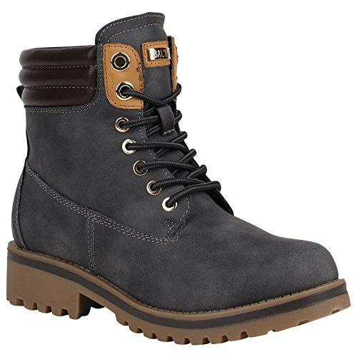 stiefelparadies Damen Stiefeletten Worker Boots Warm Gefüttert 151712 Grau Berkley 38 Flandell