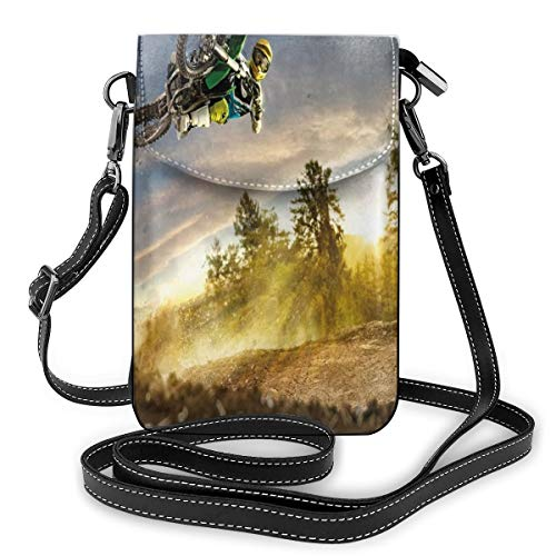 Women Small Cell Phone Purse Crossbody, On The Bike Racing In Earth Path Nature Exotic Sports Success Image