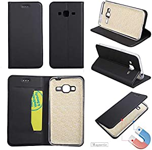 GORASS Case Compatible for Samsung Galaxy 2016 Wallet Case  Leather Waterproof Magnetic Drop Protection Folio Flip Case with Kickstand and Credit Card Slots  Black