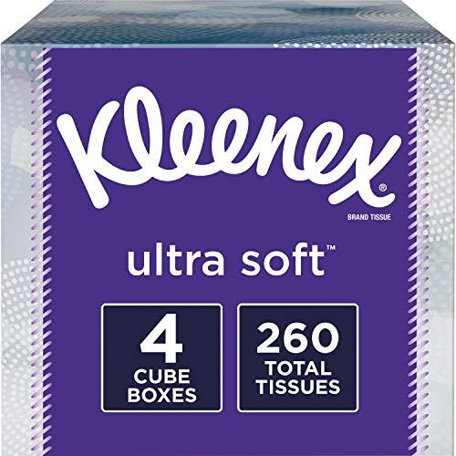 "Kleenex, Ultra Soft Facial Tissues, 3 Ply - 8.20"" x 8.40"" - White - 65 Sheets Per Box - 4 Boxes Per Pack"