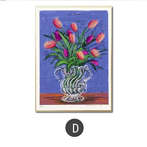 Zaosan 60x80cm(No Frame) Klassische David Hockney Vase Tapete Leinwand Malerei Druck Wohnzimmer Home Decor Moderne Wandkunst Poster HD