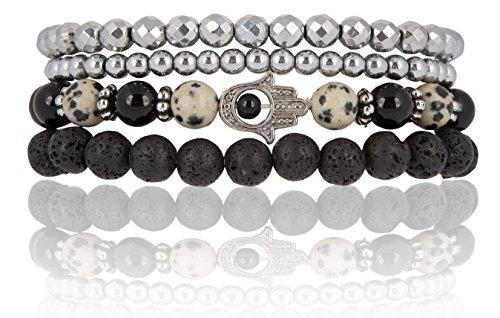 SPUNKYsoul Hamsa Charm Stretch Bracelet Onyx, Dalmatian & Lava Diffuser | Attracts Positive Energy Collection