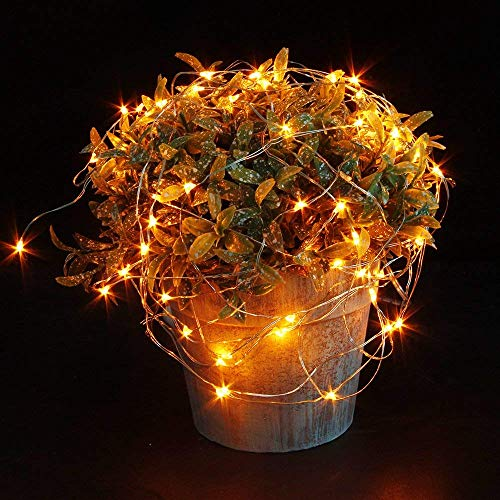 Engilen Fairy Lights 7.2 Feet 20 LED Copper Wire String Lights with Button Battery Operated for DIY Home,Vase,Jar,Christmas,Mother's Day,Holiday,Party , Orange(6 Pack)